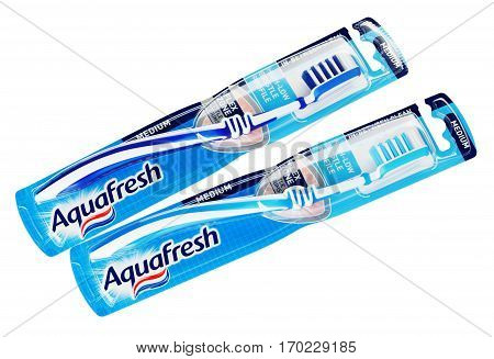 MOSCOW RUSSIA - FEBRUARY 5 2017: Top view of pair packaging Aquafresh toothbrushes isolated on white background with clipping path. Aquafresh manufactured by GlaxoSmithKline