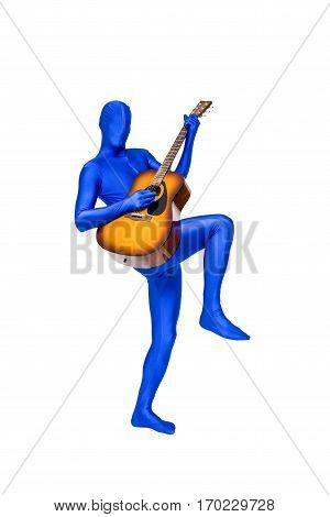 Mysterious Blue Man In Morphsuit Playing An Acoustic Guitar