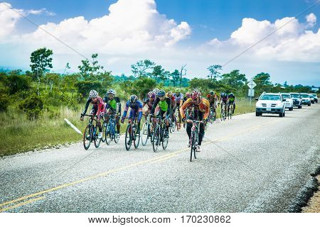 BELIZE-DECEMBER 20, 2015: Cyclist rides during the Tour of Belize cycling race on Dec 20, 2015. Belize.