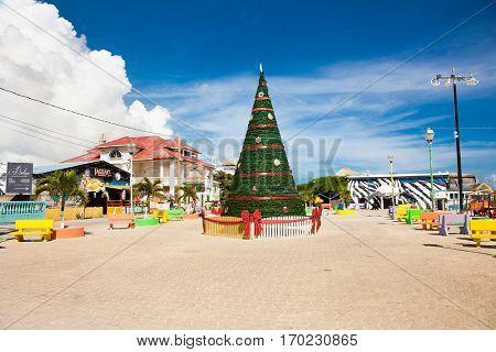 SAN PEDRO, BELIZE-DEC 18, 2015: Centre of San Pedro island decorated with Christmas tree on Dec 18, 2015, Belize.