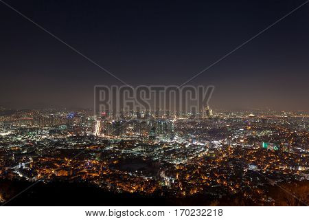 Seoul South Korea cityscape wideview in winter