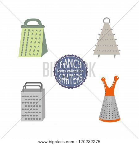 Grater icons set. Kitchenware cooking utensils isolated on white. Freehand drawn cartoon cute fancy style.  Kitchen tool grating product symbol. Design vector element of home food preparation process