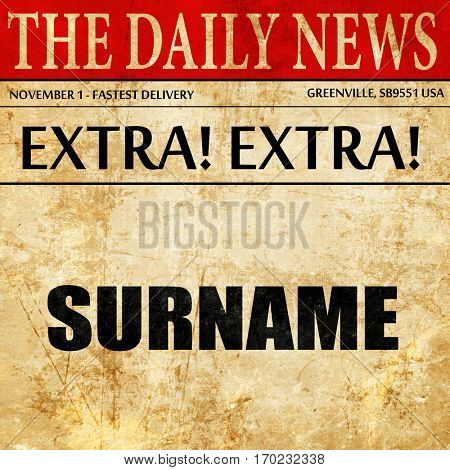 surname, newspaper article text