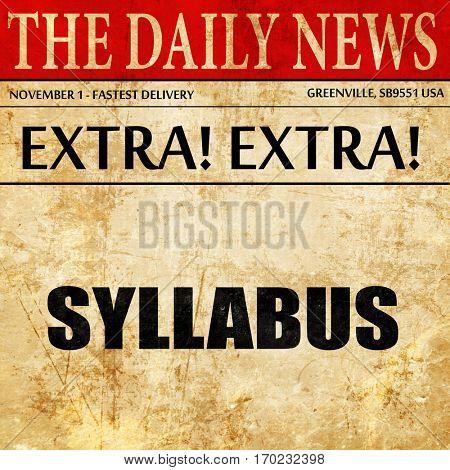 syllabus, newspaper article text