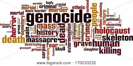 Genocide word cloud concept. Vector illustration on white