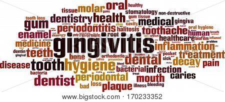 Gingivitis word cloud concept. Vector illustration on white