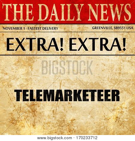 telemarketeer, newspaper article text