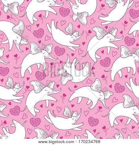 Vector seamless pattern with outline white flying elephant and ornate heart on the pink background. Cartoon cute elephants and hearts in contour style for Valentine day and kids design.