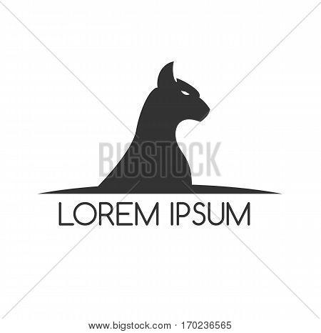 Cat logo graphic design pet symbol animal background illustration vector stock