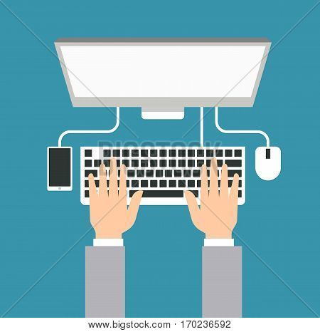 Hands typing text on the laptop keyboard - people working with computer at the work desk illustration flat vector stock