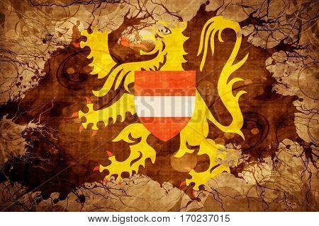 Vintage flemish brabant, vlaams brabant flag with grunge effect