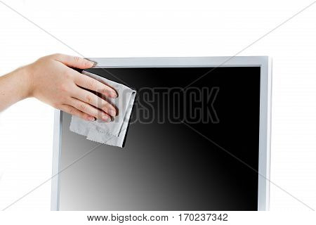woman cleaning computer display isolated studio on white background. Isolated