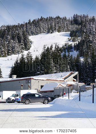 WHISTLER, BC, CANADA - February 7, 2017 : Base 2 on Backcomb Mountain : Whistler, BC, Canada, February 7, 2017
