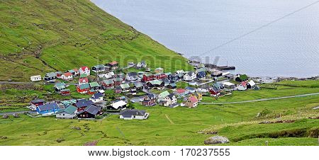 Panorama of a small village on the Faroe Islands