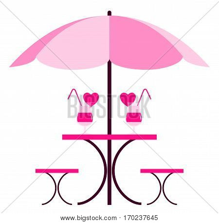vector table with umbrella and love drinks isolated on white background