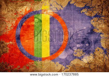 Vintage Sami people flag with grunge effect