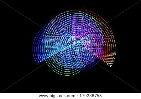 Light Painting. Abstract, Futuristic, Colorful Long Exposure, Black Background-37