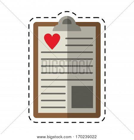 cartoon clipboard heart report care vector illustration eps 10