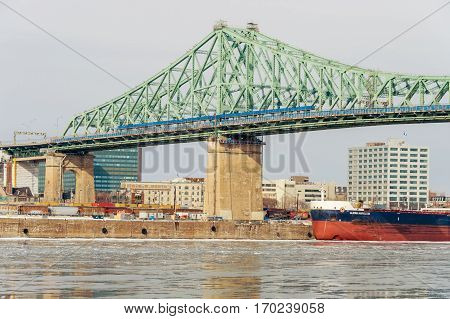 Montreal CA - 5 February 2017: Montreal Jacques Cartier Bridge in winter