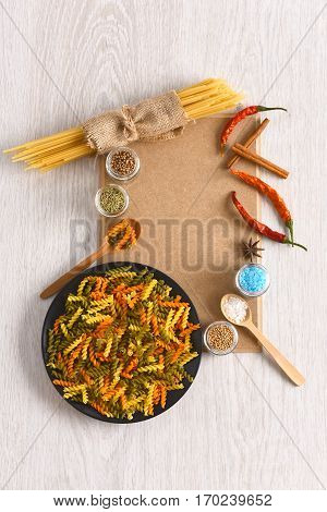 Dried Colorful Italian Pasta With Red Chilly Peppers