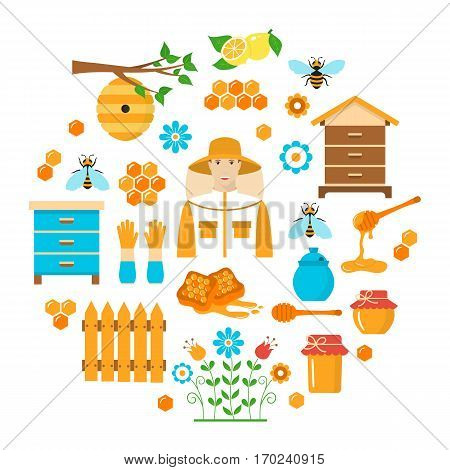 Honey vector flat icons set with beekeeping elements bee, beekeeper, beehive, honeycomb, nest, jar and dipper stick isolated on white background.