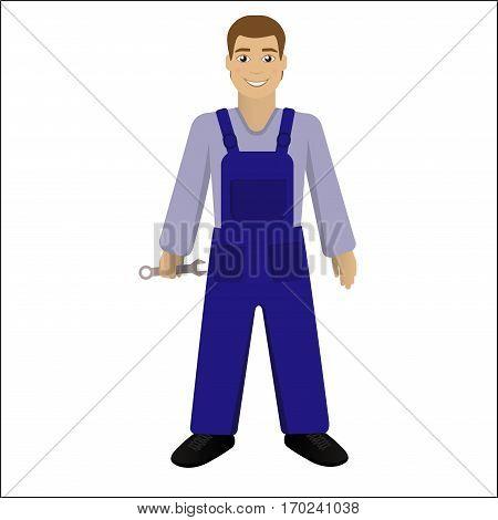 Smiling repair man stending , repairman with spanner