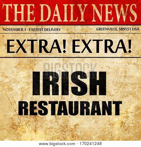 Delicious irish cuisine, newspaper article text