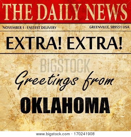 Greetings from oklahoma, newspaper article text