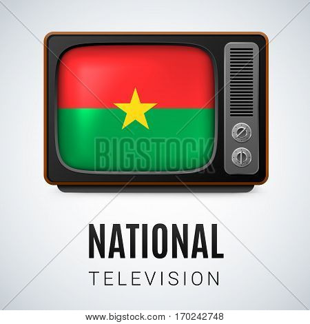 Vintage TV and Flag of Burkina Faso as Symbol National Television. Tele Receiver with flag design