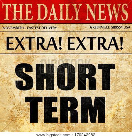 short term, newspaper article text
