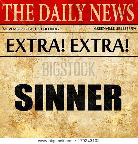 sinner, newspaper article text