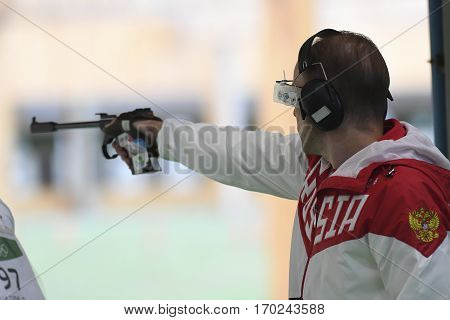 Rio Brazil - august 10 2016: GONTCHAROV Vladimir (RUS) during shooting 50m Pistol Men Shooting at Olympic Games 2016 in Olympic Shooting Centre Deodoro