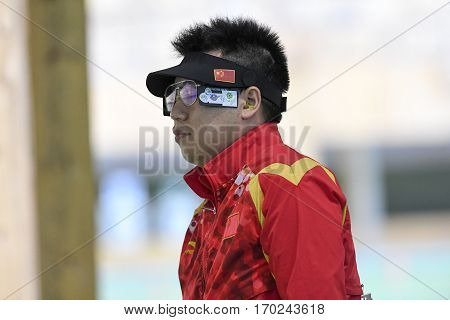 Rio Brazil - august 10 2016: PANG Wei (CHN) during shooting 50m Pistol Men Shooting at Olympic Games 2016 in Olympic Shooting Centre Deodoro