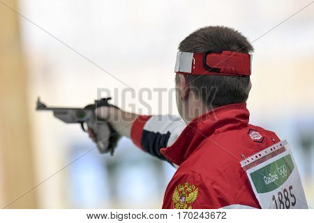Rio Brazil - august 10 2016: KOULAKOV Denis (RUS) during shooting 50m Pistol Men Shooting at Olympic Games 2016 in Olympic Shooting Centre Deodoro