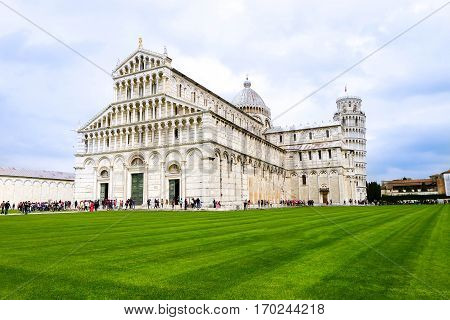 Pisa, Italy. Cathedral and the Leaning Tower in Piazza dei Miracoli. Cathedral of San Mary Assumption and the Square of Miracles.