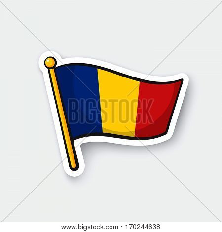 Vector illustration. Flag of Romania on flagstaff. Location symbol for travelers. Cartoon sticker with contour. Decoration for greeting cards posters patches prints for clothes emblems