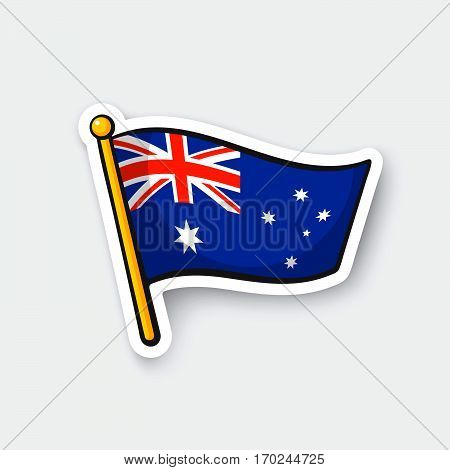 Vector illustration. Flag of Australia on flagstaff. Checkpoint symbol for travelers. Cartoon sticker with contour. Decoration for greeting cards posters patches prints for clothes emblems