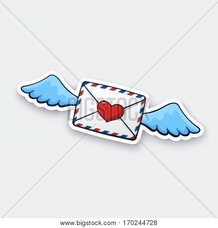 Vector illustration. Flying closed envelope with wax heart heart and wings. Not read incoming message. Cartoon sticker with contour. For greeting cards posters prints for clothes emblems
