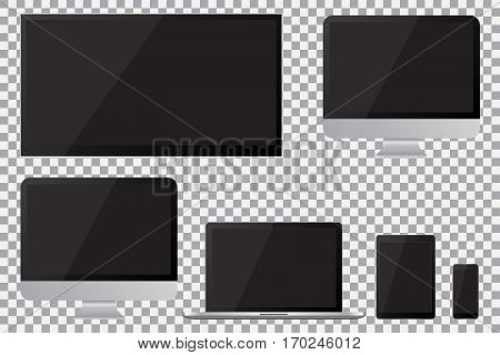 Set of realistic TV lcd led computer monitor laptop tablet and mobile phone with empty black screen. Various modern electronic gadget on isolate background