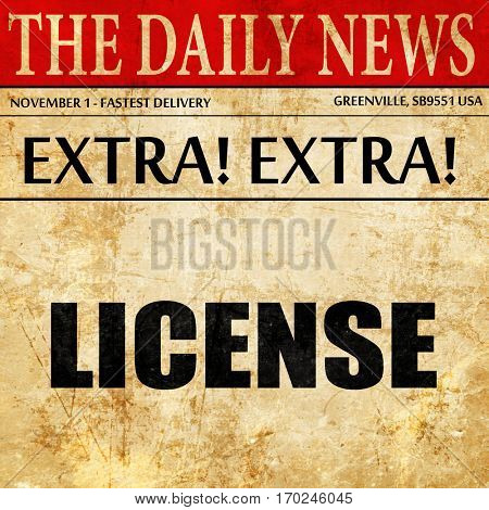 license, newspaper article text