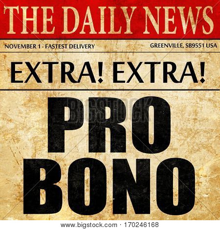 pro bono, newspaper article text