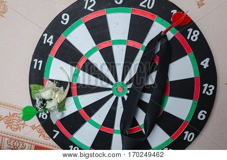 Classic Darts Board with Twenty Black and White Sector