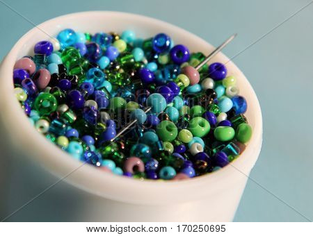 Multicolored beads macro image v v v