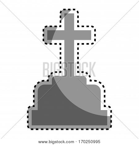 halloween Grave of cemetery icon vector illustration design