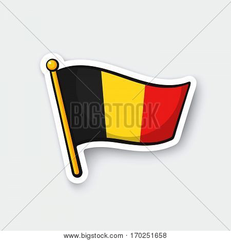 Vector illustration. Flag of Belgium on flagstaff. Location symbol for travelers. Cartoon sticker with contour. Decoration for greeting cards posters patches prints for clothes emblems