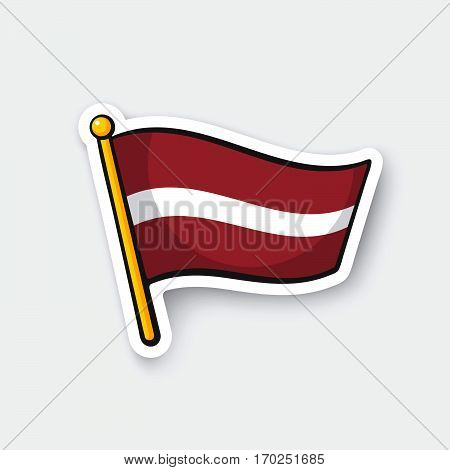 Vector illustration. Flag of Latvia on flagstaff. Location symbol for travelers. Cartoon sticker with contour. Decoration for greeting cards posters patches prints for clothes emblems