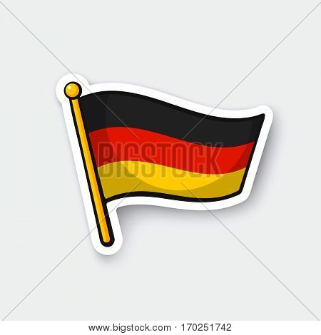 Vector illustration. Flag of Germany on flagstaff. Location symbol for travelers. Cartoon sticker with contour. Decoration for greeting cards posters patches prints for clothes emblems