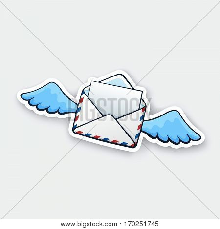 Vector illustration. Flying opened mail envelope with wings. Incoming message has been read. Cartoon style with contour. Decoration for greeting cards patches prints for clothes emblems