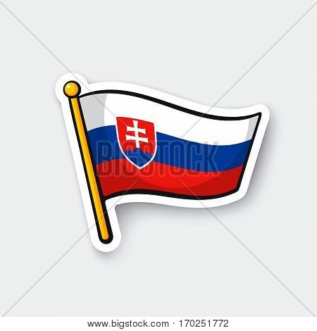 Vector illustration. Flag of Slovakia on flagstaff. Location symbol for travelers. Cartoon sticker with contour. Decoration for greeting cards posters patches prints for clothes emblems