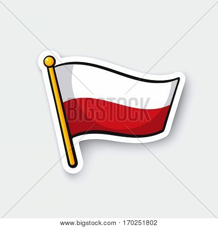 Vector illustration. Flag of Poland on flagstaff. Location symbol for travelers. Cartoon sticker with contour. Decoration for greeting cards posters patches prints for clothes emblems